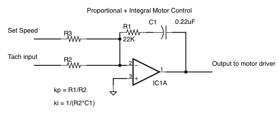 Proportional + Integral motor control